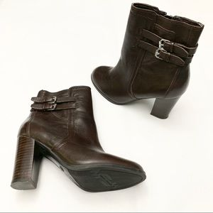 Marc Fisher Brown Leather Zippered Ankle Booties